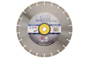 230 x 2.6 x 7 x 22.2mm P3B diamond blade 230 with blue and grey Premier branded label in the centre