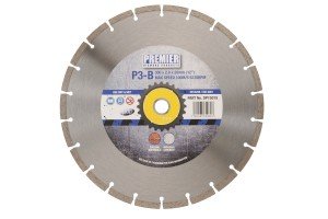 350 x 3.0 x 9 x 25.4mm P3B diamond blade 350 with blue and grey Premier branded label in the centre