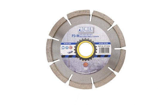 125 x 6.0 x 7 x 22.2mm P3M diamond blade 125 with blue and grey Premier branded label in the centre