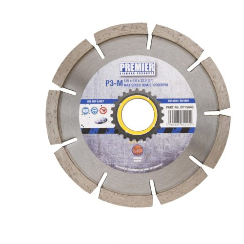 115 x 6.0 x 7 x 22.2mm P3M diamond blade 115 with blue and grey Premier branded label in the centre