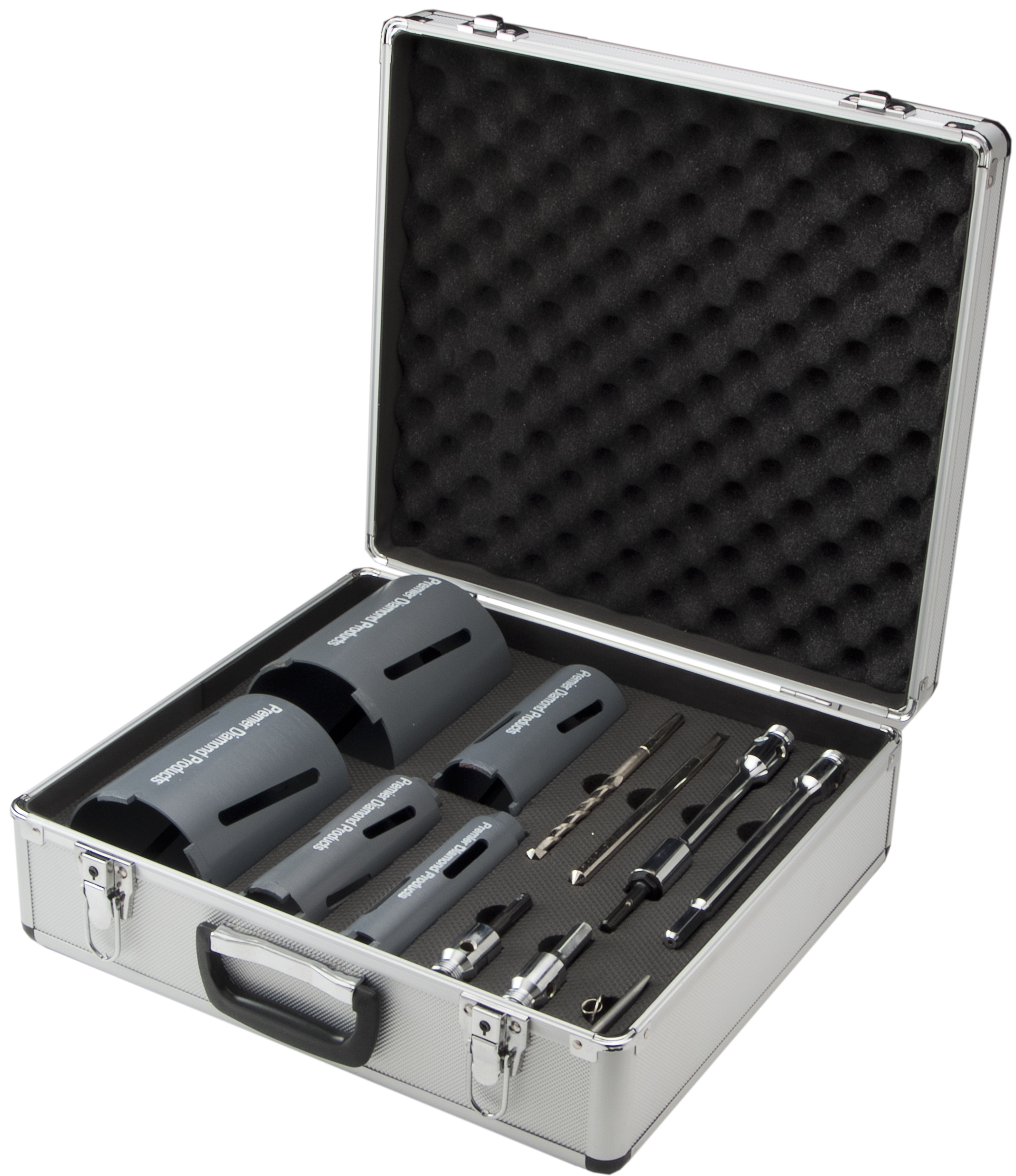 P4DC dry diamond core kit with a variety of different sized cores and attachments in a foam filled protective suitcase