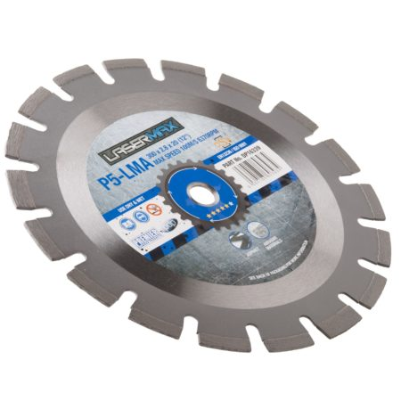 230 x 2.6 x 10 x 22.2mm circular P5-LMA lasermax 230 blade with blue and grey Lasermax branded label in the centre