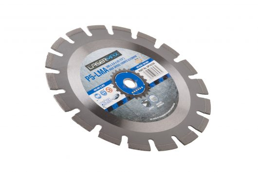 450 x 3.6 x 10 x 25.4mm circular P5-LMA lasermax 450 blade with blue and grey Lasermax branded label in the centre