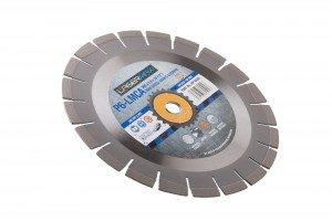 350 x 3.2 x 12 x 25.4mm circular P6-LCMA lasermax 350 blade with blue and grey Lasermax branded label in the centre