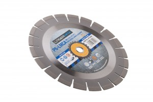 300 x 2.8 x 12 x 20mm circular P6-LCMA lasermax 300 blade with blue and grey Lasermax branded label in the centre