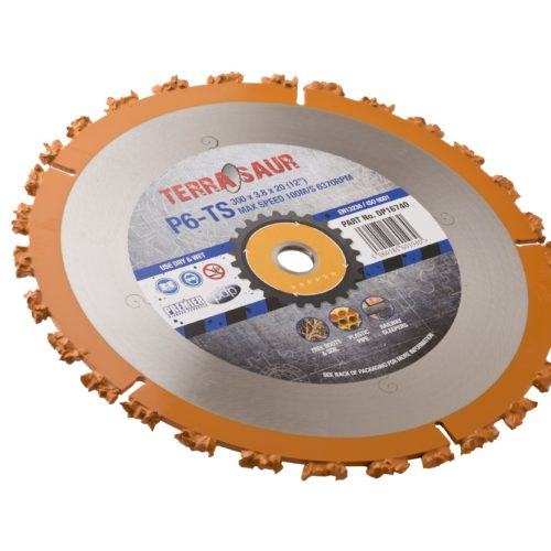 300 x 3.8 x 20mm circular P6TS Terrasaur carbide cluster saw blade with orange rim and grey Terrasaur branded label in centre