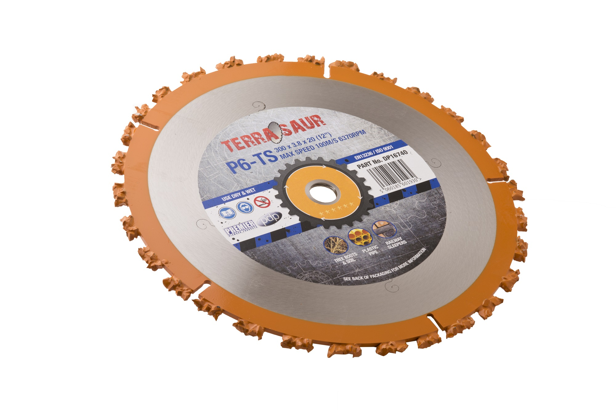 230 x 3.5 x 22.2mm circular P6TS Terrasaur carbide cluster saw blade with orange rim and grey Terrasaur branded label in centre