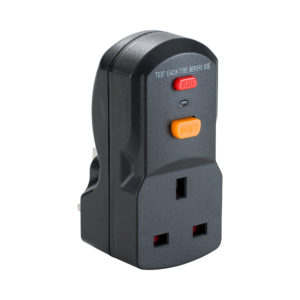 Black plastic Defender 13A RCD plug and socket adaptor with red test button and orange reset button, on a white background