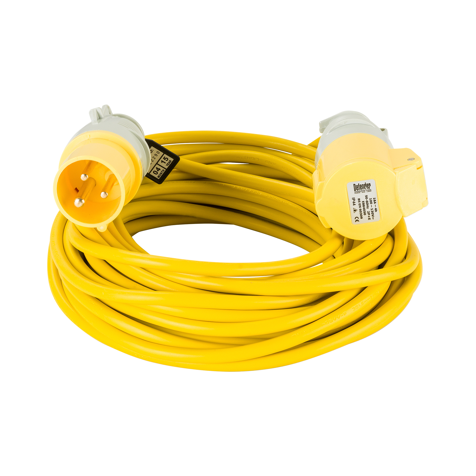 Yellow Defender 14M 1.5mm 16A arctic grade 110V extension lead cable with Defender plug and coupler, on a white background