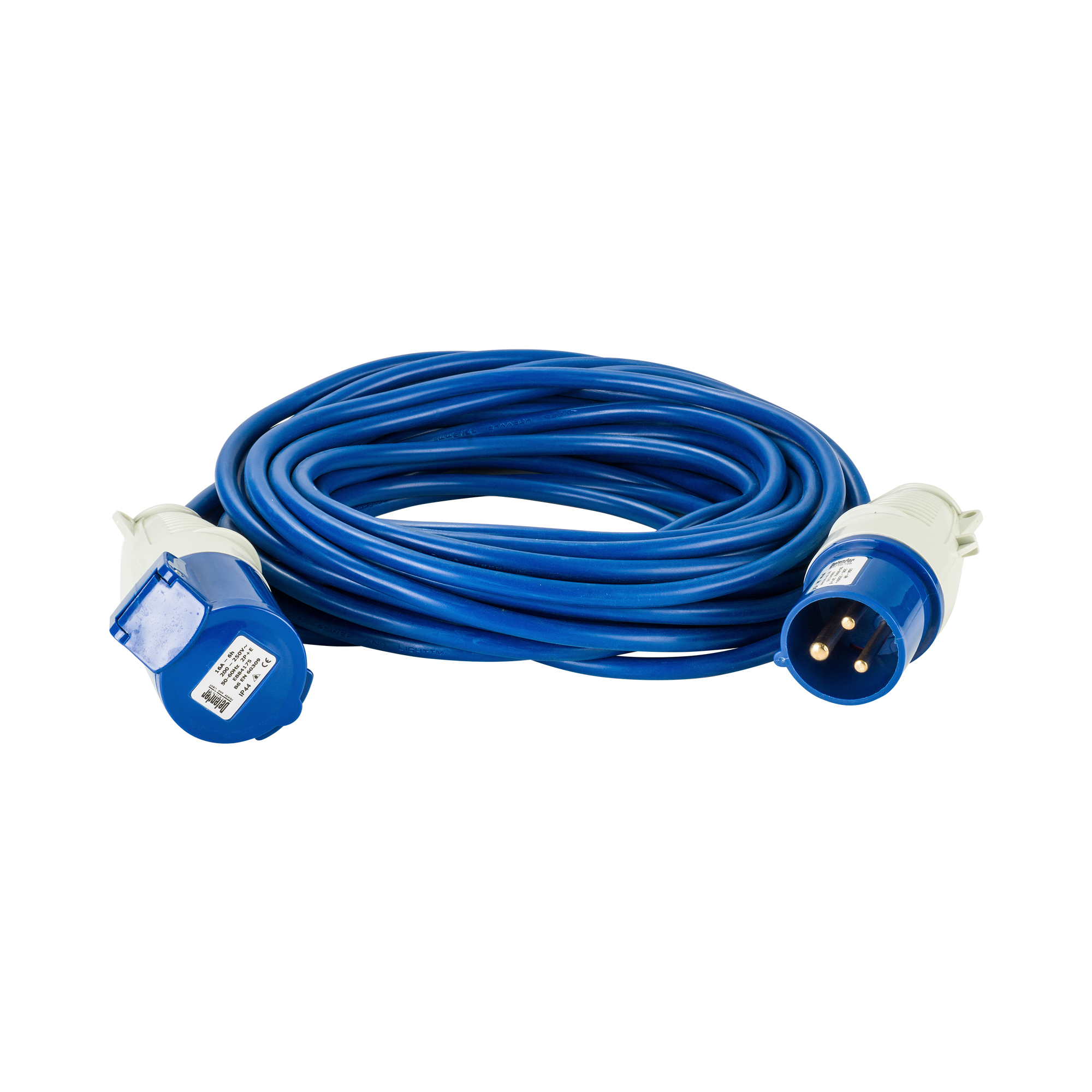 Blue Defender 14M 1.5mm 16A arctic grade 230V extension lead cable with Defender plug and coupler, on a white background