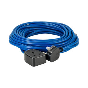 Blue Defender 14M 1.5mm 13A arctic grade 230V extension lead cable with Defender plug and coupler, on a white background