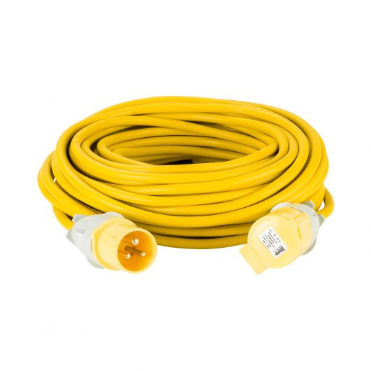 Yellow Defender 25M 2.5mm 16A arctic grade 110V extension lead cable with Defender plug and coupler, on a white background