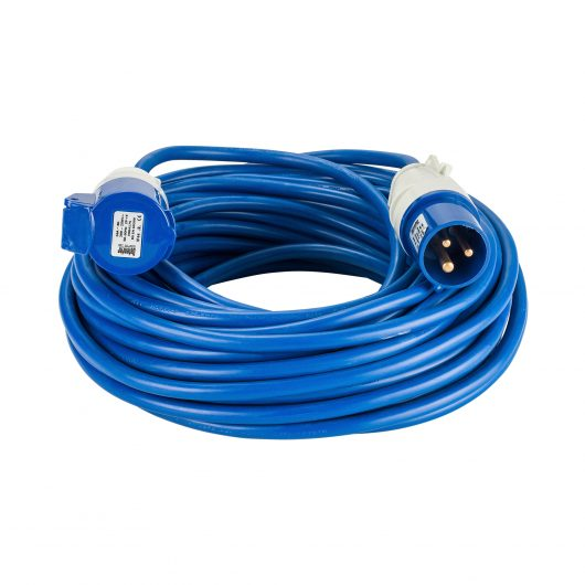 Blue Defender 25M 2.5mm 16A arctic grade 230V extension lead cable with Defender plug and coupler, on a white background