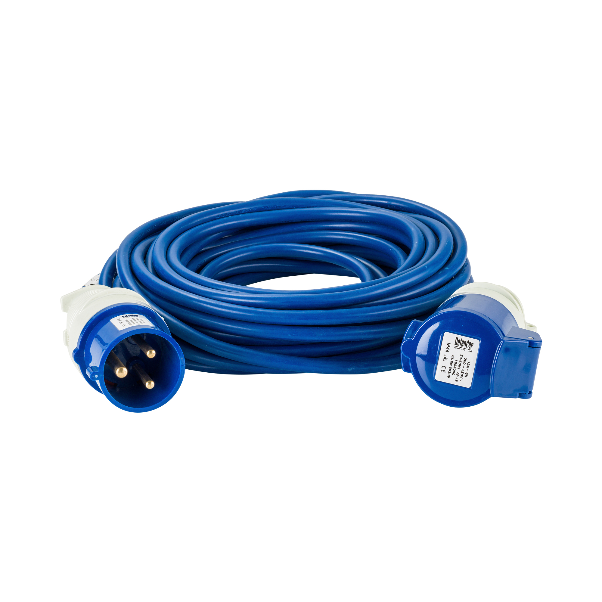 Blue Defender 14M 2.5mm 32A arctic grade 230V extension lead cable with Defender plug and coupler, on a white background