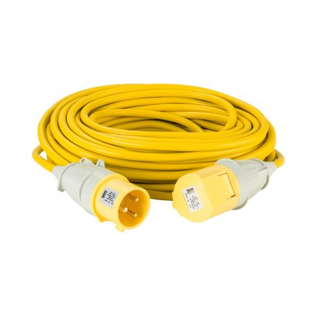 Yellow Defender 25M 4mm 32A arctic grade 110V extension lead cable with Defender plug and coupler, on a white background