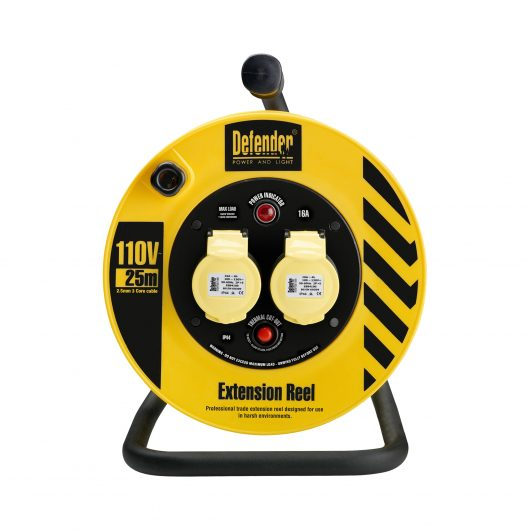 Black and yellow Defender 25M 1.5mm industrial extension reel with steel A frame, neon power light and 2 16A power outlets