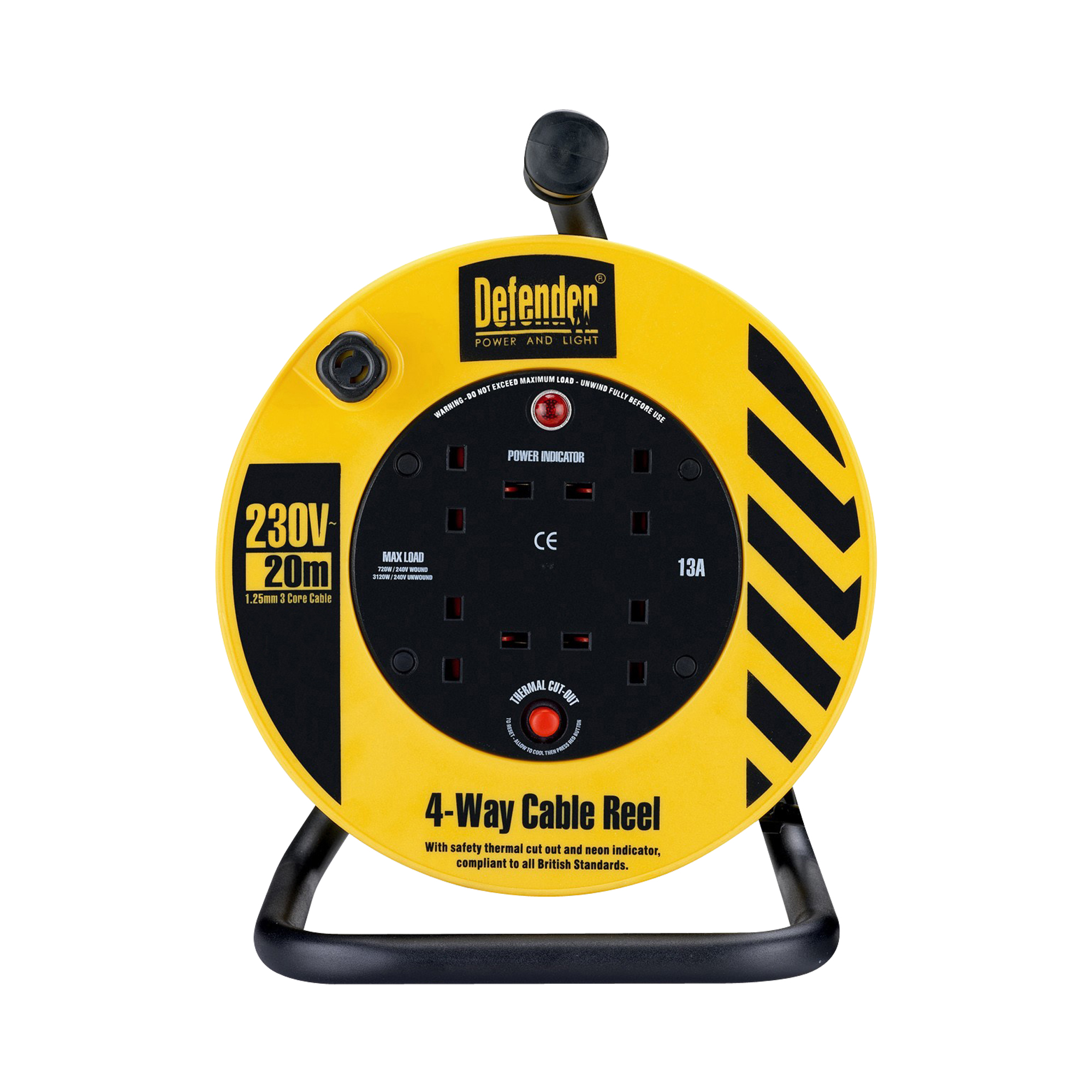Defender black and yellow 20M 4-way cable reel with steel frame, 4 power outlets, neon power indicator and Defender branding