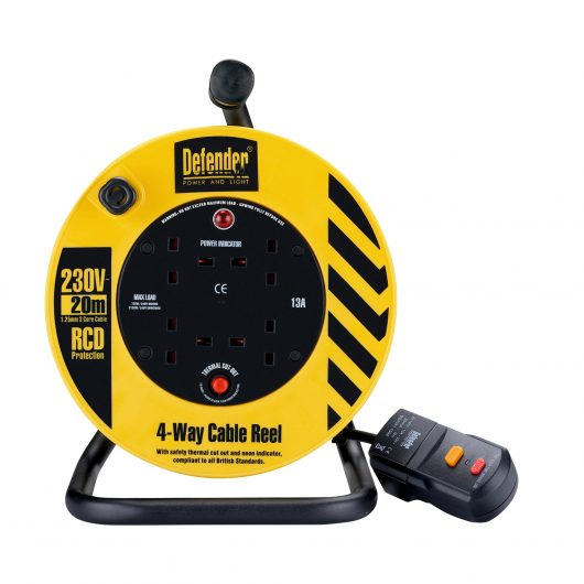 Black and yellow Defender 20M extension reel with RCD socket, steel frame, neon power light and 4 13A power outlets