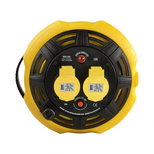 Black and yellow Defender 15M 2-way cassette reel with 2 16A power outlets, power indicator light and integrated carry handle