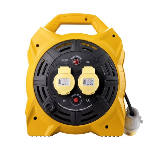 Black and yellow 20M Defender box cable reel with 2 16A power outlets, neon power indicator and integrated carry handle