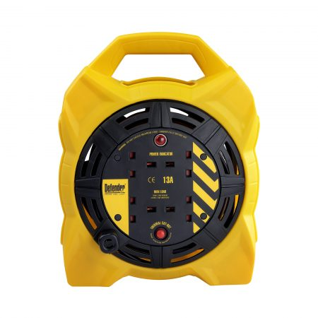 Black and yellow Defender 15M 4-way box cable reel with 4 13A power outlets, neon power indicator and integrated carry handle