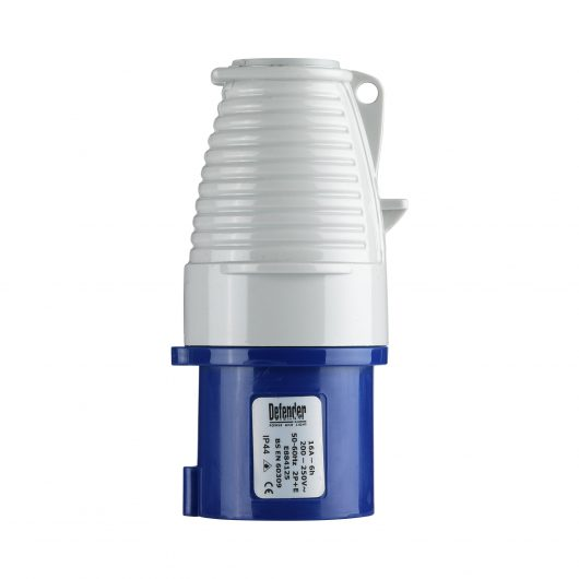Blue and white Defender 16A 230V plug with ergonomic design and Defender label, on a white background