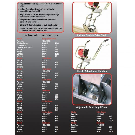 Information sheet on the different models of the Belle Easy Screed Pro