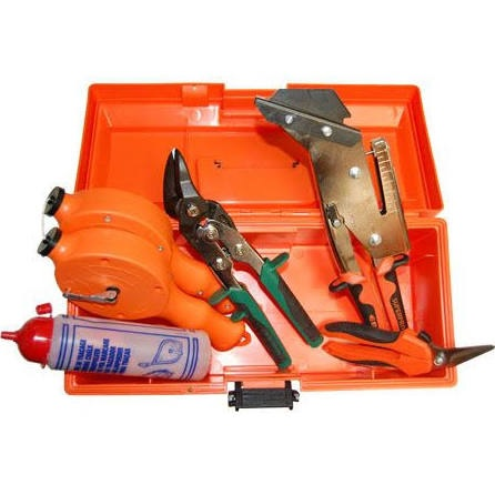 EDMA orange plastic tool box including slate cutter with hole punch, lead snips, chalk line & flask and utility snips