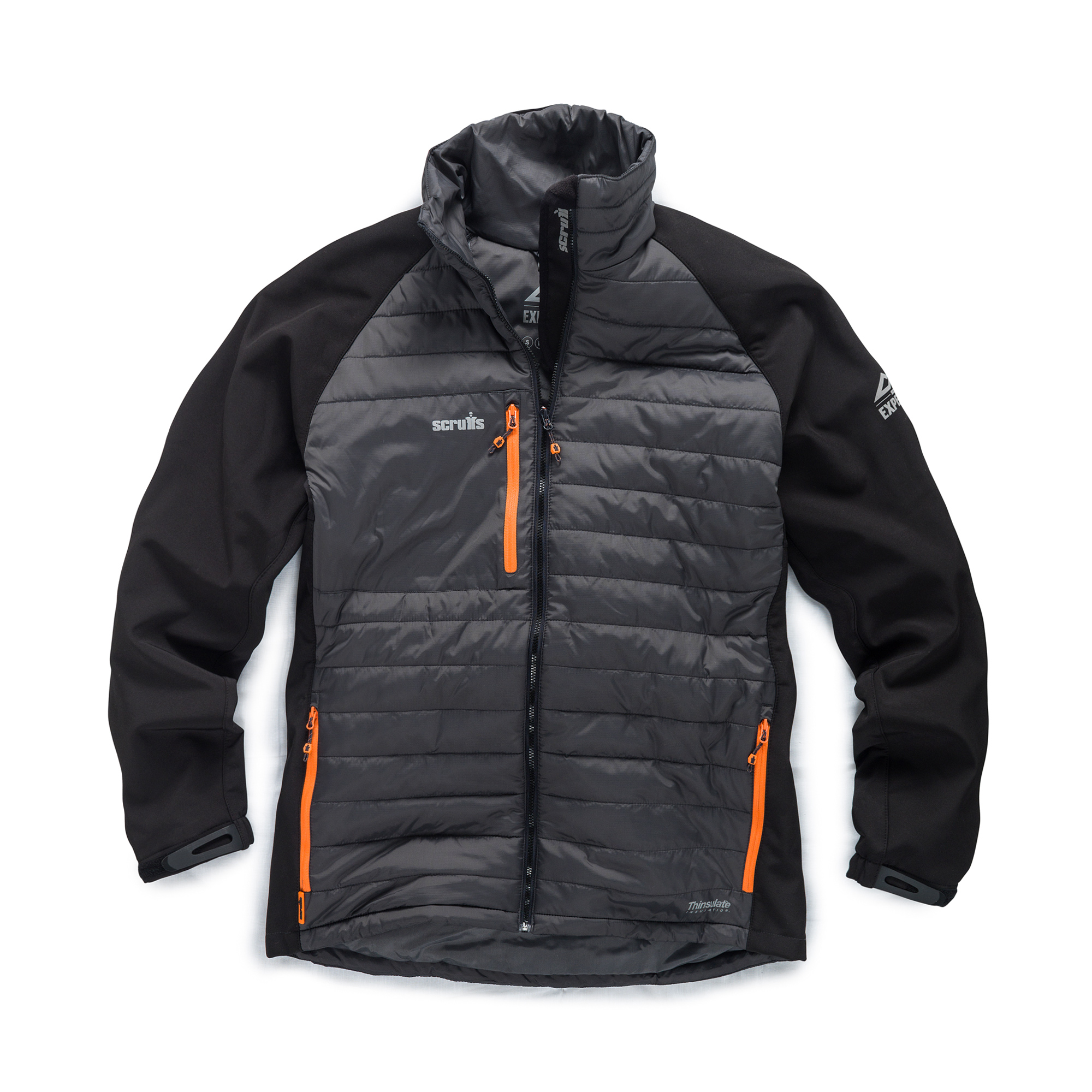 Graphite and black nylon/softshell Scruffs expedition thermo jacket with multiple pockets and contrasting grey Scruffs branding