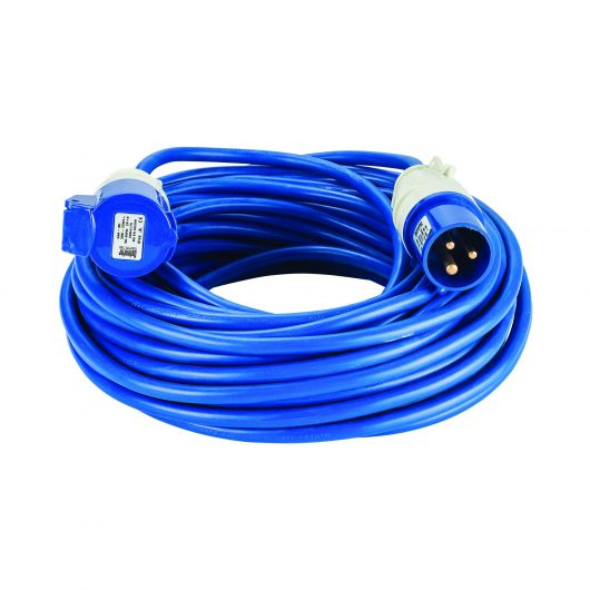 Blue Defender 25M 2.5mm 32A arctic grade 230V extension lead cable with Defender plug and coupler, on a white background