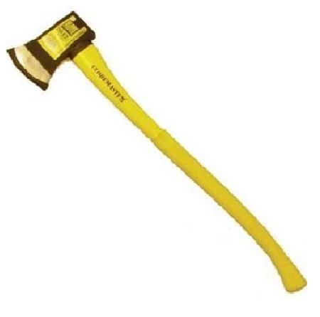 Black and yellow felling axe on a white background