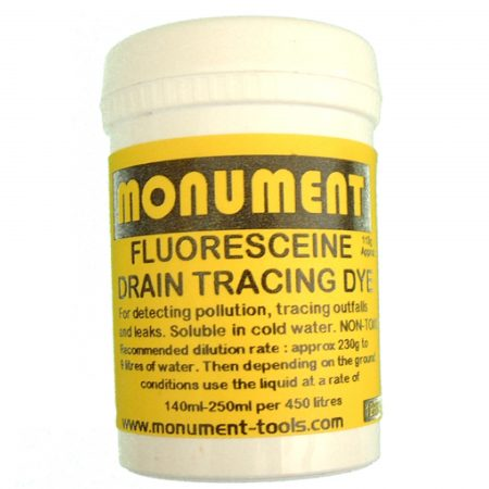 White tub of 8oz. fluoresceine drain dye from Monument with yellow information label on and Monument logo