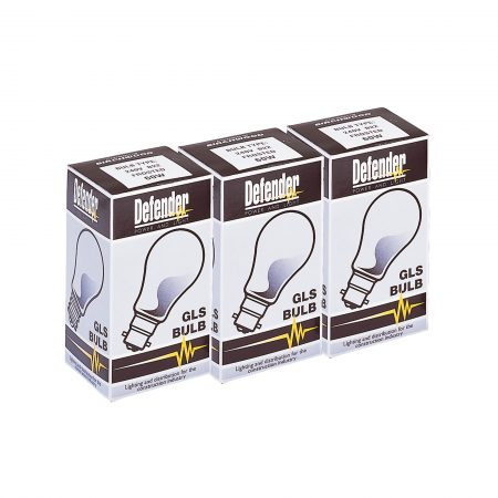 3 black and white boxes with 'GLS bulb' text, a picture of a light bulb and Defender branding