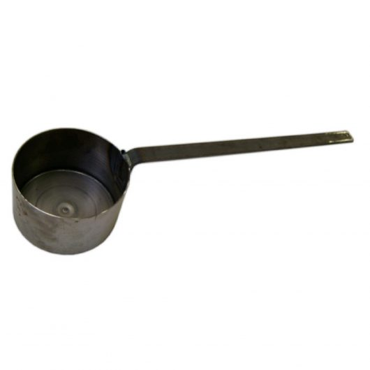 Galvanised steel tar ladle with long handle on a white background