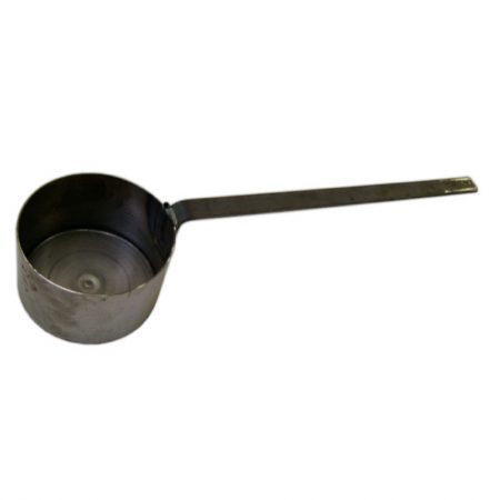 Small galvanised steel tar ladle on a white background
