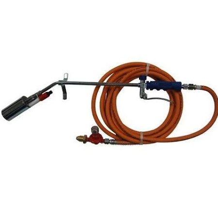 Medium self igniting torch kit with 380mm stem and 50mm head, trigger, anti-kink hose and gas regulator