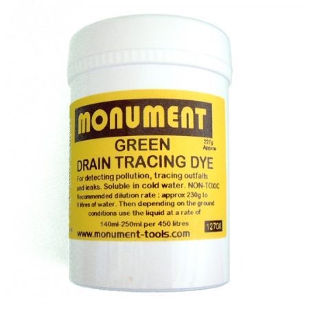 White tub of 8oz. green drain dye from Monument with yellow information label on and Monument logo