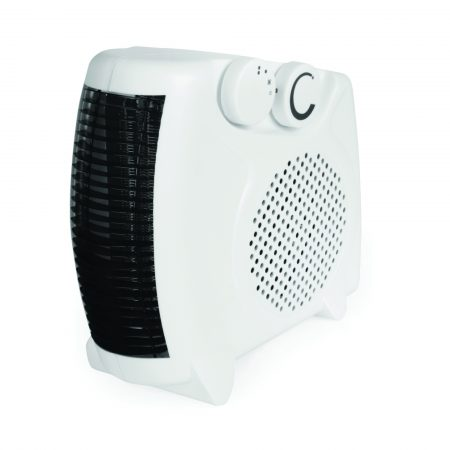 White injection moulded Rhino fan heater standing vertically, on a white background