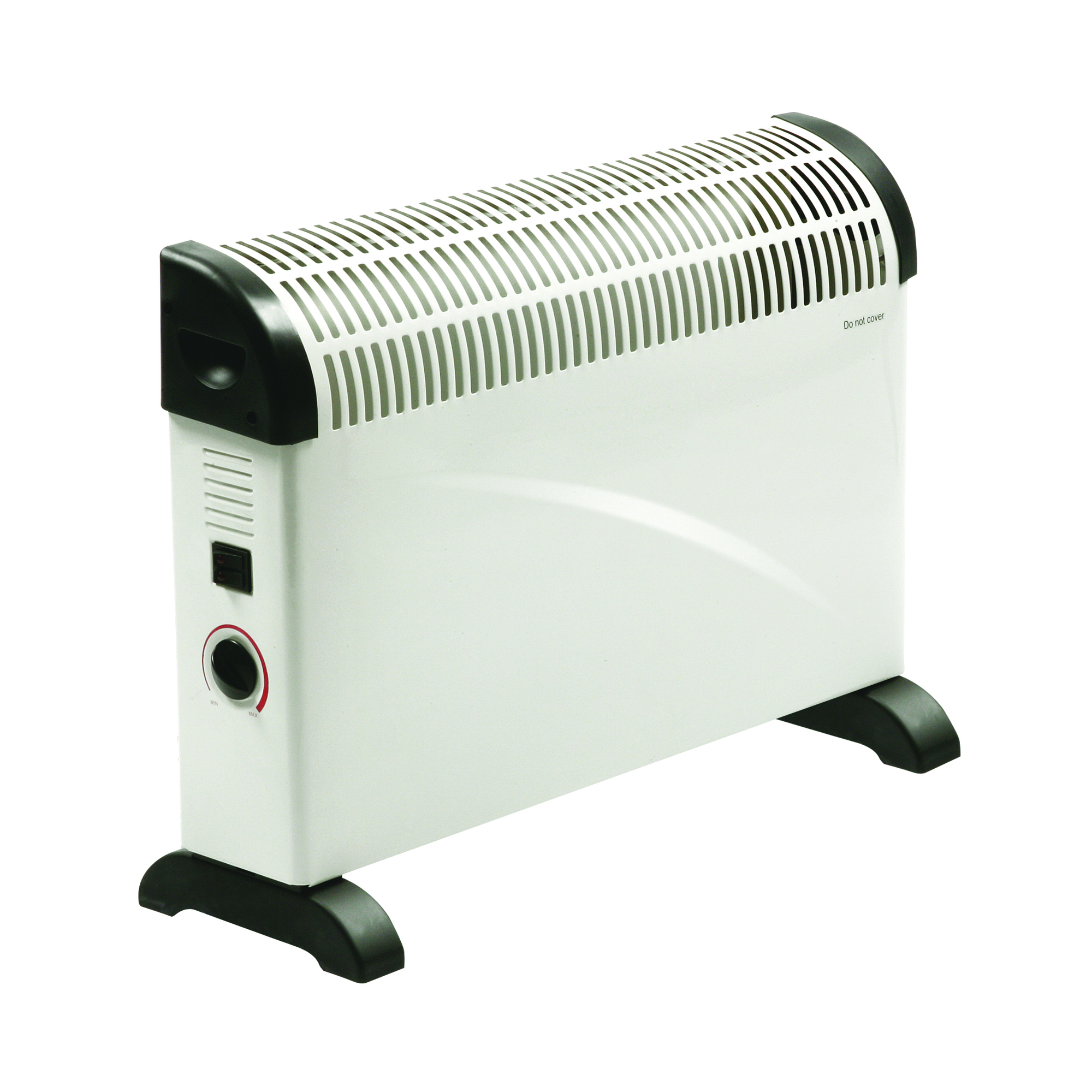 White and black Rhino convector heater with power and thermostat control dial on the side and plastic carry handles and feet