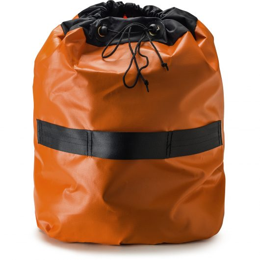 Orange and black Rhino extractor ducting collected in drawstring bag that's attached to end of ducting