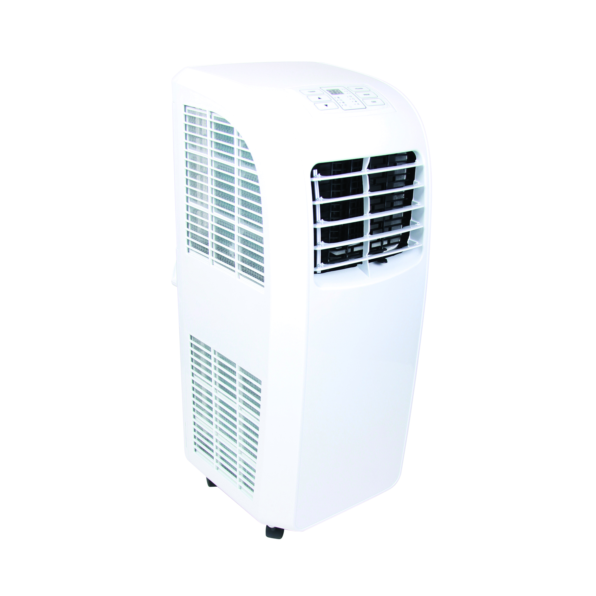 White Rhino 9000 BTU air conditioner with digital control panel on the top, vents on the front and side and castor wheels