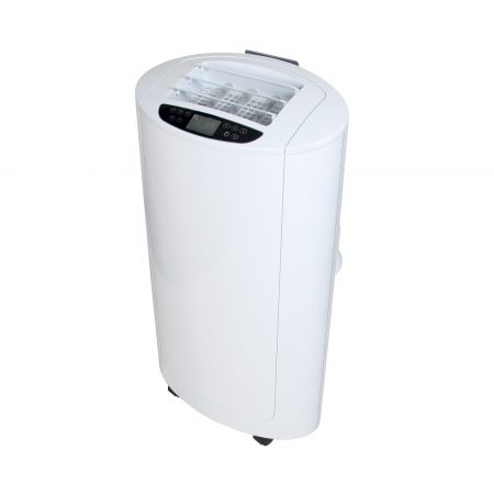 White Rhino 12000 BTU air conditioner with LCD display on the top and castor wheels, on a white background