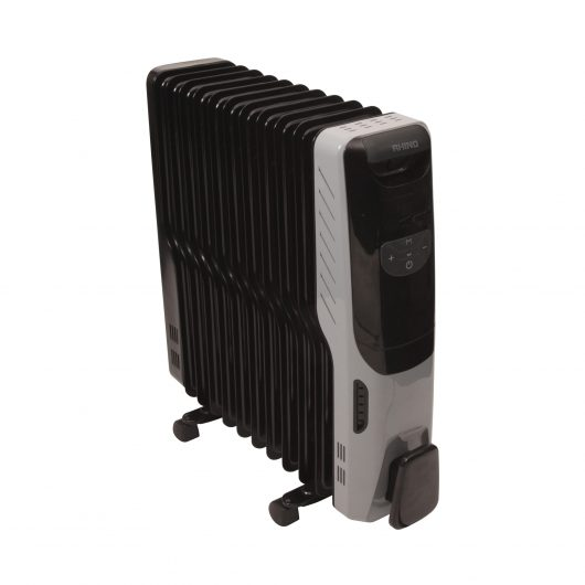 Black and grey Rhino deluxe oil filled radiator with power/temperature control buttons on the front and castor wheels