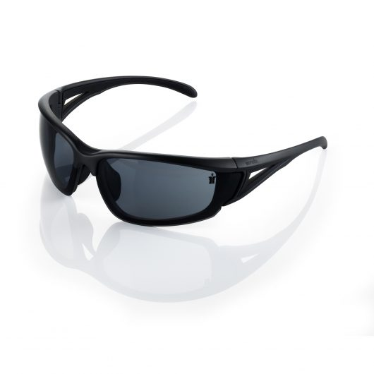 Black nylon framed Scruffs Hawk safety specs with smoked lenses and small Scruffs logo on the lens