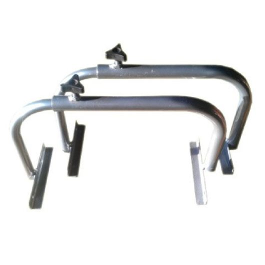 2 silver metal hip ridge runners with adjuster knob on the top on a white background
