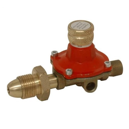 Gold and red metal gas regulator from impact boiler burner kit with 5m armoured hose