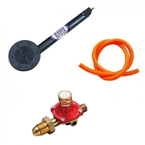 Asphalt burner kit including large asphalt burner, orange hose and red and gold metal gas regulator
