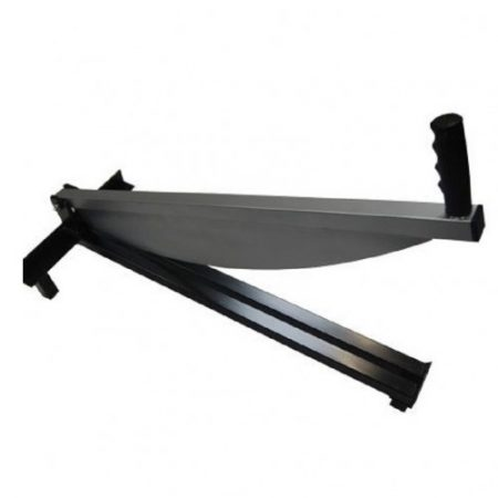 Large slate guillotine with black grip handle on a white background