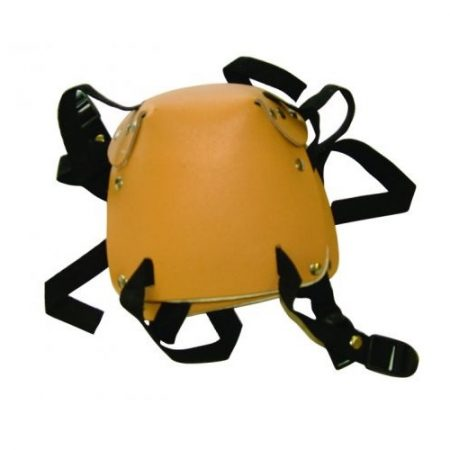 Tan leather kneepads with black straps