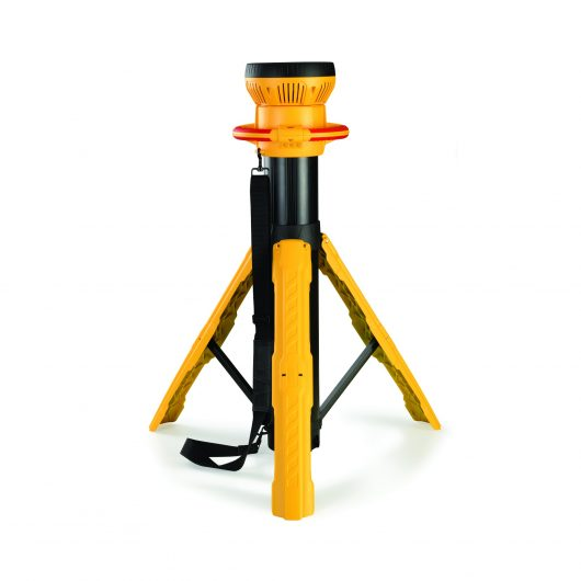 Yellow and black Defender light cannon with black carry strap attached and built-in tripod out, on a white background